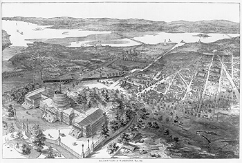 Balloon view of Washington, D.C., Harper's Weekly, July 27, 1861, p. 476. Library of Congress Prints and Photographs Division, LC-USZ62-71022. Smithsonian Institution Building can be seen at the top center east of the Potomac River and Virginia,  Washington Canal visible, proceeding from the Potomac River due east and then southeast.