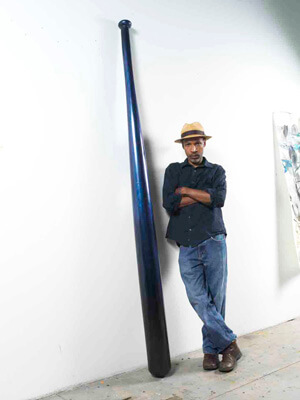 Peter Harholdt, Radcliffe Bailey in his studio with Clean Up II, November 2010. Image courtesy of the High Museum of Art.