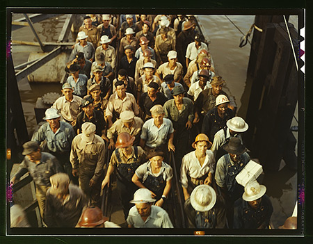 John Vachon, Workers leaving Pennsylvania shipyards, Beaumont, Texas, 1943.
