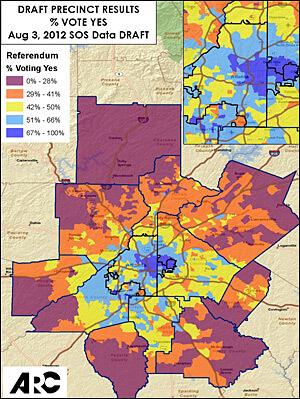"Percent of ""Yes"" vote in T-SPLOST referendum by precinct, August 2012, Atlanta Regional Commission."