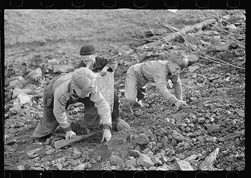 John Vachon, Miner's sons salvaging coal during May 1939 strike, Kempton, West Virginia. Library of Congress Prints and Photographs Division, FSA/OWI Black-and-White Negatives Collection, LC-USF34-032709-D.
