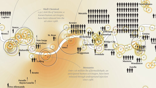 Details from Toxic Release Mapping, Petrochemical America, page 150–151. Illustration by Kate Orff. Courtesy of author.