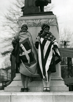 Photographer unknown, Two Italian-Americans, Elannore T. Carrieri and Anna Guarina, at unveiling of Columbus Statue, Richmond, Virginia, 1925. Courtesy of the Library of Virginia.