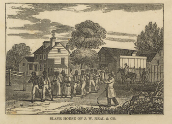 A slave coffle in Washington, D.C., possibly marching to auction, from William S. Dorr, Slave market of America, published by the American Anti-Slavery Society, 1836. Library of Congress Rare Book and Special Collections Division, LC-DIG-ppmsca-19705. The J. W. Neal slave house was near the city's center market.