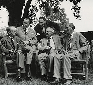 Photograph of the Fugitive Poets. From left to right: Allen Tate, Merrill Moore, Robert Penn Warren, John Crowe Ransom, and Donald Davidson, May 4, 1956. Vanderbilt University Special Collections and University Archives.