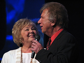 Ruth Daniel, Bill and Gloria Gaither perform at a Gaither Homecoming Friends concert, Fort Worth, Texas, April 4, 2009.