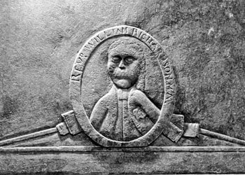 Daniel W. Patterson (photographer), The Reverend William Richardson headstone (1771), detail of the lower front, Waxhaw Presbyterian Church, Lancaster County, South Carolina. Gravestone attributed to the Bigham workshop.