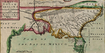Edw. Crisp, Detail of A compleat description of the province of Carolina in 3 parts, the west part by Capt. Tho. Nairn, 1711. Library of Congress Geography and Map Division, 2004626926.