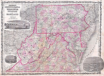 """Alvin Jewett Johnson, """"Johnson's Map of Pennsylvania, Virginia, Delaware and Maryland, 1863,"""" from Johnson's New Illustrated (Steel Plate) Family Atlas with Descriptions, Geographical, Statistical, and Historical (A. J. Johnson & Ward edition, 1863)."""