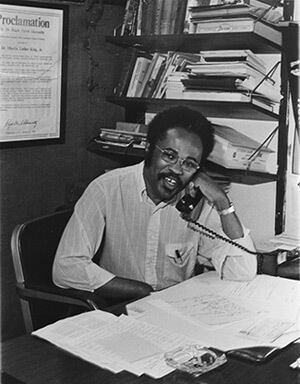 Fred Taylor at his desk at SCLC, circa 1970s. Courtesy of SCLC records, MARBL, Emory University.