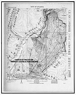 Sam Fowler, 1930 City of Atlanta quadrangle map, Druid Hills historic district, US 29, Atlanta, Georgia.  Library of Congress, Historic American Buildings Survey HABS GA-2390-10.