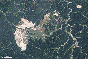 Satellite imagery depicting the effects of mountaintop removal in Boone County, West Virginia, 2009.