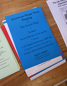 "Jesse P. Karlsberg, Sacred Harp singing flyer at the seventeenth United Kingdom Sacred Harp Convention advertising ""American shape-note singing,"" Winnersh, United Kingdom, 2012."