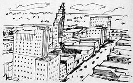 Yoshio Koya, Drawing of Downtown Jackson, Mississippi, in Tengoku Amerika, Jigoku Amerika, 82.