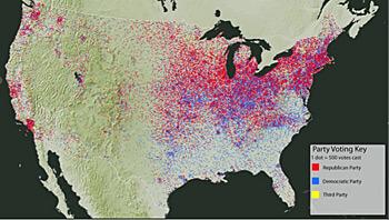 "Digital Scholarship Lab, Screenshot of Voting America: United States Politics, 1840–2008, ""Dot-Density Map of Presidential Voting, 1920,"" University of Richmond, 2011."