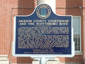 Commemorative marker, Scottsboro, Alabama, 2006.