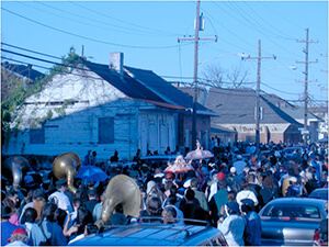 Nick Spitzer, Second line of funeral procession, New Orleans, Louisiana, 2005.