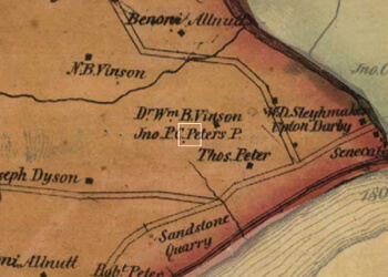 Simon J. Martenet, Detail of Martenet and Bond's Map of Montgomery County, 1865. Library of Congress Geography and Map Division, 2002620533. A white box shows John P. C. Peter's sandstone quarry and residence at Seneca Mills, just north of the Potomac River in Virginia.