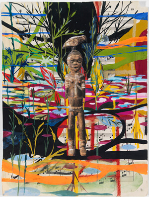 Radcliffe Bailey, Notes from Elmina III, 2011. Gouache, collage and ink on paper, 12 x 9 inches. High Museum of Art, Atlanta, Gift of Bert and Cathy Clark, 2011.9.