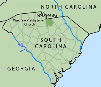 Map of South Carolina Waxhaws region, 2012. Map shows location of Waxhaw Presbyterian Church in Lancaster County, South Carolina.