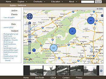Screen capture of the GeoBrowse tool, Driving Through Time, 2012. The GeoBrowse tool allows visitors to browse documents in the collection by geographical location.