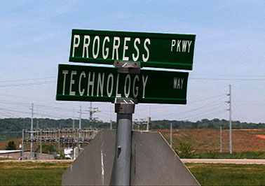 Street signs, new industrial park, Morristown, Tennessee, from Morristown: in the air and sun (2007).