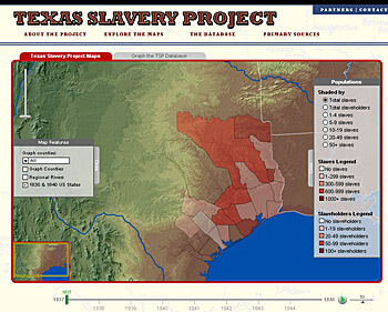 Andrew J. Torget, Screenshot from The Texas Slavery Project, 2008.