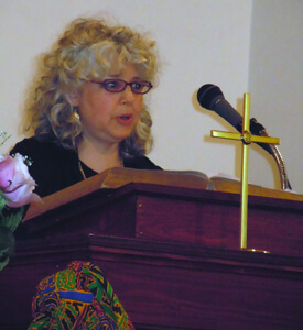 Ellen Spears, Aggie Kapelma announcing the donation of David Scribner's papers, Scottsboro, Alabama, 2011.