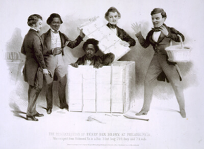 The Resurrection of Henry Box Brown at Philadelphia, who escaped from Richmond Va. in a box 3 feet long 2½ ft. deep and 2 ft. wide. Henry Box Brown's iconic flight North was sparked when he watched his wife and child sold South. Published by A. Donnelly, 1850. Courtesy the Library of Congress.