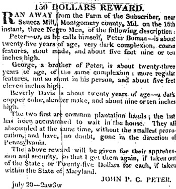 """150 Dollars Reward,"" Daily National Intelligencer, July 28, 1831. John P. C. Peter offered a reward for the return of three enslaved men, who had escaped from Seneca Mill."