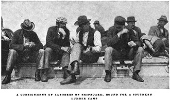 "Laborers en route to the Jackson Tract, Atlantic Ocean. Alexander Irvine, ""My Life in Peonage,"" Appleton's Magazine, August 1907, 190."