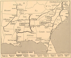 Associated Press, Map of 1961 Freedom Rides Routes, February 1962.