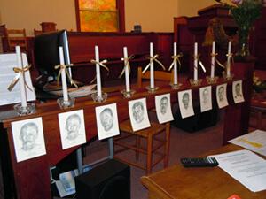 Tom Reidy, Pam Farmer's sketches of the nine Scottsboro defendants, Scottsboro, Alabama, 2011.