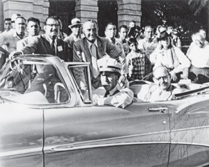 Alfredo G. Garza, LULAC national president Felix Tijerina (in backseat) with Senator Lyndon B. Johnson, accompanied by Officer Jose Davila and Alfredo Garza, in a 1958 LULAC parade in Laredo, Texas, LBJ Library. From Fighting Their Own Battles: Mexican Americans, African Americans, and the Struggle for Civil Rights in Texas by Brian D. Behnken. Copyright © 2011 by the University of North Carolina Press. Used by permission of the publisher.