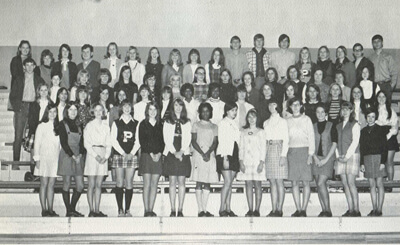Virginia Ward, center, in a Future Business Leaders of America yearbook photo, Pebblebrook High, 1970.