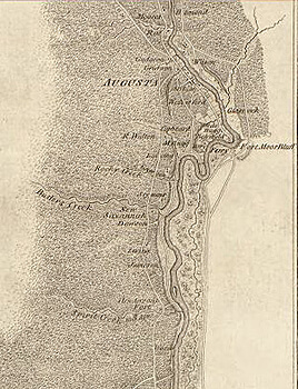 Archibald Campbell, Sketch of the northern frontiers of Georgia, extending from the mouth of the River Savannah to the town of Augusta, 1780. Library of Congress Geography and Map Division, 73694481.