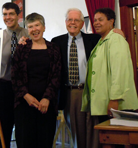Ellen Spears, Historian David Carter, Jane Carter, historian Dan Carter, and director Shelia Washington, Scottsboro, Alabama, 2011.
