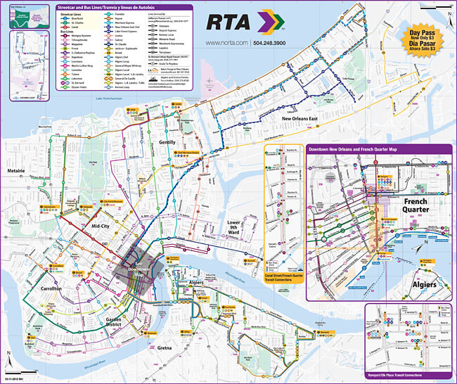 "New Orleans Regional Transit Authority system map, New Orleans, Louisiana, and surrounding areas. In contrast to the New Orleans public transit system, the Columbia, South Carolina system ""was an absolute nightmare"" for many Hurricane Katrina evacuees."