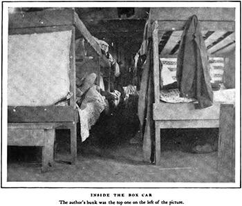 """Inside the box car, outside Lockhart, Alabama. Alexander Irvine, """"My Life in Peonage,"""" Appleton's Magazine, July 1907, 6."""