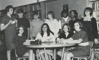 Virginia Ward, back row right, in a Library Club yearbook photo, Pebblebrook High, 1970. Cynthia Beavers, who began at Pebblebrook in 1969, stands next to Ward.