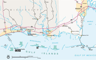 National Park Service Gulf Islands Regional Map of Gulfport, Mississippi and the Gulf Coast