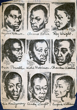 The Daily Worker, Drawing of the Scottsboro Boys, 1935. Courtesy of Emory University's Manuscript, Archives, and Rare Book Library.