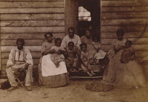 George Harper Houghton, Family of slaves at the Gaines' house, Hampton, Virginia, c. 1861. Courtesy the Library of Congress.