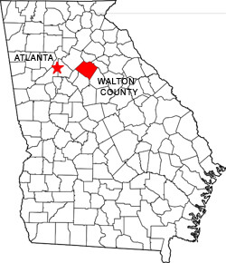 Map marking Walton County, Georgia