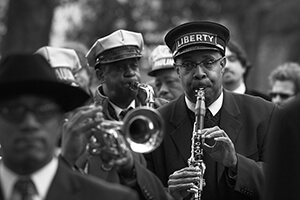 Derek Bridges, Dr. Michael White plays the jazz funeral for Doc Paulin, New Orleans, Louisiana, 2007.