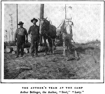 "Arthur Bellinger (left) and Alexander Irvine (second from left) with Larry the horse (far right), outside Lockhart, Alabama. Alexander Irvine, ""My Life in Peonage,"" Appleton's Magazine, July 1907, 8."