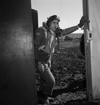 Toni Frissell, Portrait of Tuskegee airman Edward M. Thomas, standing, Ramitelli, Italy, 1945. Courtesy of the Library of Congress.