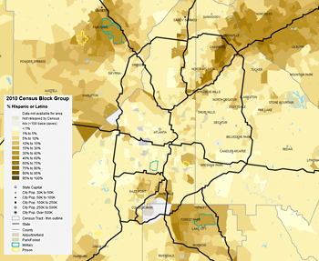 Percentage of metro Atlanta Hispanic or Latino residents by 2010 census block group, 2013. Data from Social Explorer.