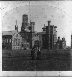 The Smithsonian Institution, from a stereograph, 1859. Library of Congress Prints and Photographs Division, LC-USZ62-55101.