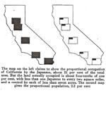 "Marshall De Motte, Maps of the Japanese population, in ""California: White or Yellow?"" The Annals of the American Academy 93 (January 1921): 21."